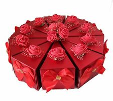 10pc Red Paper Wedding/Party Gift Favor Candy Box With Silk Bows and Roses