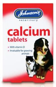Johnsons veterinary calcium tablets for cats & dogs 40 pack (for strong bones)