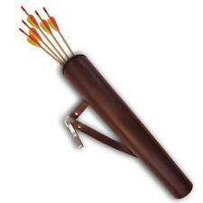 """SYNTHETIC LEATHER  ARCHERY HIP ARROW QUIVER / BELT CLIP 17"""" LONG SAQ-1519 BROWN"""