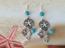 NAUTICAL SAND DOLLAR MERMAID SHELL CHARM TURQUOISE BEAD WIRE HOOK EARRINGS