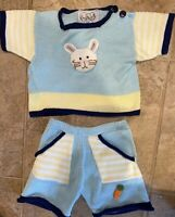 ZackAli 4 Kids baby 2 piece size 12 months Knit top and Shorts Bunny 100% Cotton