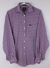 Faconnable Shirt Men's Medium Purple Plaid Cotton Long Sleeve Nice!
