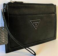 NWT GUESS BRAELYNN WRISTLET BAG Black Logo Clutch Pouch Handbag Wallet GENUINE