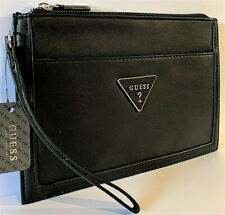 NWT GUESS BRAELYNN WRISTLET BAG Black Logo Clutch Pouch Handbag Wallet GENUINE
