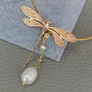 """Cz  pave Gold Plated Dragonfly Charms White Rice Pearl Choker Necklace 16"""""""