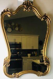 "MCM Antique Gold Gilt Wood Framed Hollywood Regency Wall Mirror 30"" x 21"""