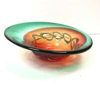 Glass Art Bowl Abstrat Biomorphic Decorative Green And Red Textured