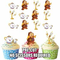 PRECUT Disney Beauty and the Beast 12 Edible Cupcake Toppers Party Decorations