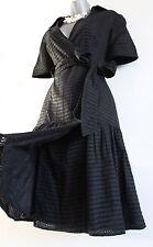 Karen Millen Black Cotton Brocade Anglais 50's Shirt Style Cocktail Dress  UK 12