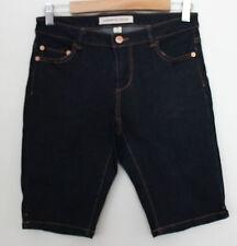 COUNTRY ROAD ~ Dark Blue Wash Denim Tailored Shorts w Brass Hardware ~ 8