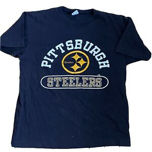 Pittsburgh Steelers Vintage 70s Champion Blue Bar T Shirt Youth Large