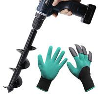 Twinkle Star Garden Auger Spiral Drill Bit 3 x 12 Inch with Garden Genie Gloves,