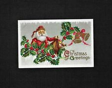 Vintage Embossed Christmas Postcard Santa Sack Of Toys Holly Tree Branch 31F