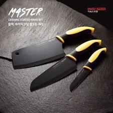 3Pcs SET Sharp Black Ceramic Coated Stainless Steel Chef Kitchen Knife  V_e