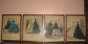 """Stampe antiche colorate """"Mode di Parigi"""" dame alla moda. Epoca metà 1800"""