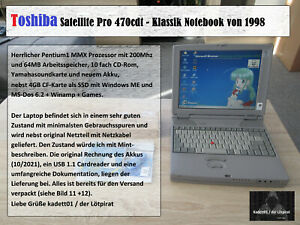 💻Toshiba Satellite Pro 470 CDT, P1-200MHz, 64MB, 4GB SSD Retro Gaming Projekt💻