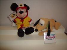 Disney PLUTO and FIREMAN MICKEY Bean Bag Plush NEW with TAGS Walt Disney World