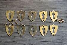 10 brass Victorian shield furniture escutcheon antique box keyhole plates SE2