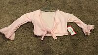 Girls (6-8) Pink Tie Front Bell Sleeve Wrap Dance Cardigan Shrug Top NWT!