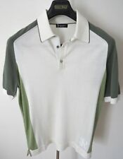 $2400 STEFANO RICCI Silk Polo Shirt with Crocodile Leather Trim Size 58 Euro 3XL