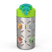 Zak Minecraft Stainless Steel Kids' Water Bottle with Spout Cover, 15.5oz