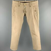 DSQUARED2 Size 32 / IT 46 Khaki Cotton Low Rise Zip Fly Pants