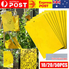 50/100x Yellow Sticky Glue paper Insect Trap Catcher Killer Fly Aphids Wasp AU