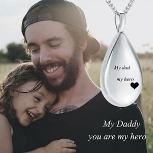 Personalized Teardrop Ashes Urn Men Necklace Pendant Cremation Memorial Keepsake
