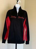 New Women's Harley Davidson Black Red sz S Zip Jacket Sweatshirt Nebraska Logo