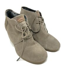TOMS Canvas Wedge Espadrille Shoes Women's Size 11 Taupe