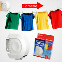 New 12m Retractable Reel Outdoor Single PVC Washing Clothes Line