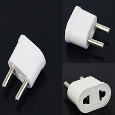2x US USA to EU Euro Europe AC Power Plug Converter Travel Adapter Charger White