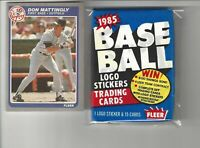 1985 Fleer #133 DON MATTINGLY Baseball Card + 1 Unopened 85 Fleer Wax Pack!
