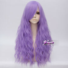 """Lolita 28"""" Long Light Purple Curly Anime Party Cosplay Full Wig Heat Resistant"""