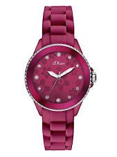 s.Oliver Damen Armbanduhr Silikon Pink Steine Blumen Ornamente SO-2563-PQ