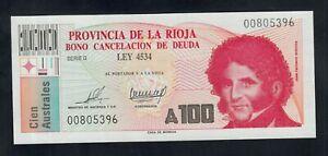 ARGENTINA 100 AUSTRALES ( 1986 )  PROVINCIA LA RIOJA  PICK # S2507 UNC.