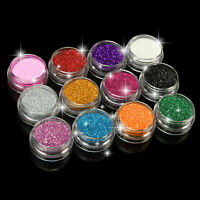 12PCS Mix Colours Glitter Dust Powder Set for Nail Art Tips DIY Decoration Craft