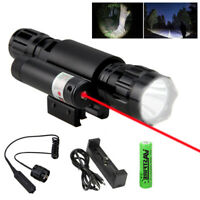 Red Laser Sight Flashlight Combo LED Hunting Lamp 20mm Picatinny Rail  Gun Mount