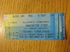 24/02/2002 Ticket: Ice Hockey - Manchester Storm v London Knights