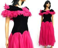 Vintage 80s Black Velvet Dark Pink Chiffon Satin Prom Dress S Long Formal Gown