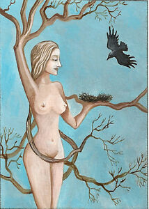 ACEO PRINT OF PAINTING DRYAD RYTA RAVEN CROW NUDE GREEK MYTHOLOGY NYMPH OAK TREE