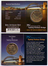2007 RAM $1 UNC Coin S Mintmark - 75th Anniversary of the Sydney Harbour Bridge