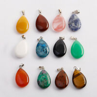 1/5/10x Natural Water Drop Crystal Stone Pendants Mixed DIY Jewelry Making Gifts
