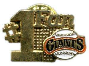 VINTAGE 1988 SAN FRANCISCO GIANTS # 1 FAN MLB BASEBALL PIN BUTTON LICENSED