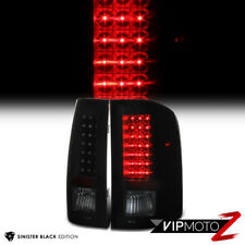 [SINISTER BLACK] 2007-2014 Chevy Silverado GMT Black Smoke LED Tail Lights Lamps
