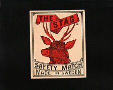 VINTAGE Match Matchbox Label DEEP RICH COLOR The Stag Made In Sweden Safety E1