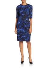 Betsey Johnson Blue Floral Sheath Dress 3/4 Sleeve Knee Length Size 6