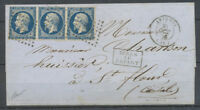1856 20c. De trop sur lettre d'Avignon à St Flour, bande de 3 n°14 foncé X4046