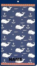 """30"""" x 60"""" Name Embroidered Beach / Pool Towel With Whales Anchors Fish Design"""