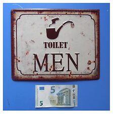 "Targa vintage ""Toilet men"" toilette bagno uomini gabinetto, metallo, cm 25x20"